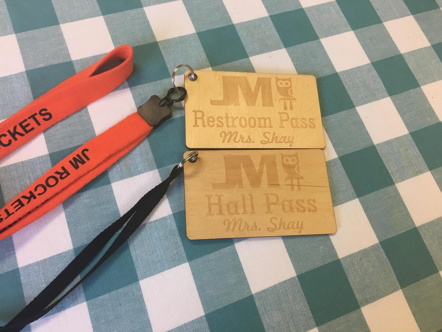 During a recent In-Service, teachers used the laser engraver to make their own hall passes.